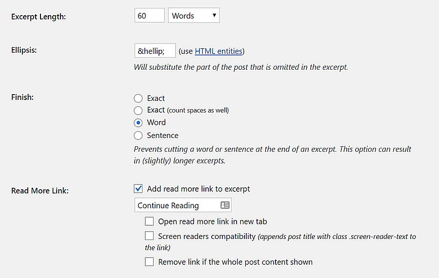 自定义Advanced Excerpt插件的设置。