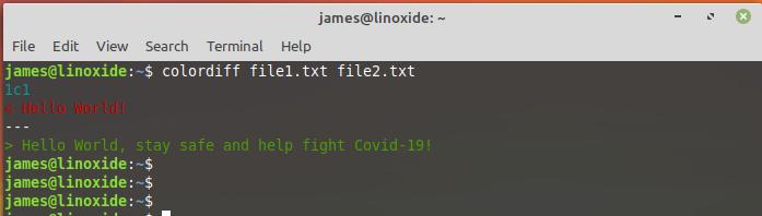 compare two files using colordiff command