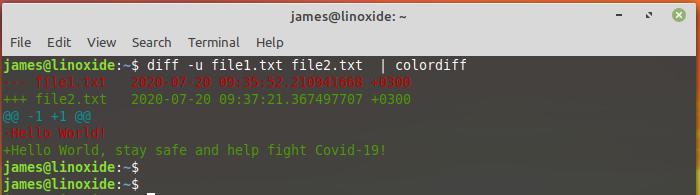 diff command colorized